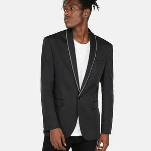 NEW Express Slim Piped Tuxedo Jacket Black White S